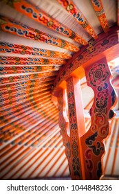 Color close up image of a yurt ceiling in Mongolia