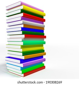 Color closed books on the white background .