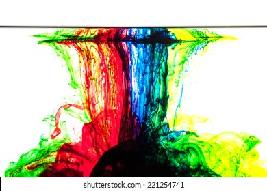 Color clouds flowing underwater isolated on a white background