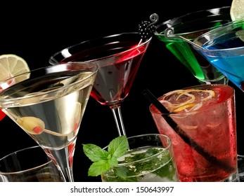 Color cocktails, close up