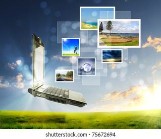 color collage of notebook against green nature background