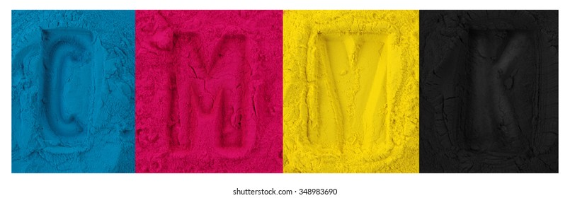 Color copier toner cyan magenta yellow, black isolated on white