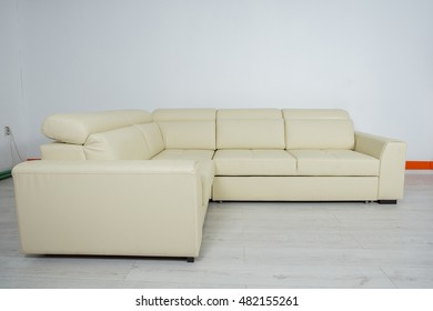 color cream corner a large sofa on a white background