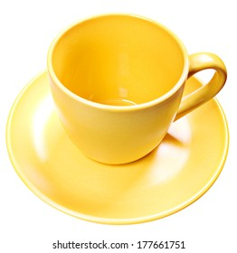 Color cup on white background.