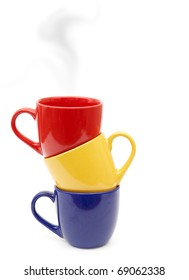 Color cups isolated on a white background.