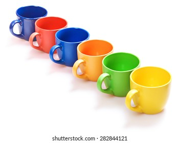 Color cups on white background.