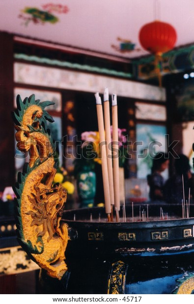 Color cut-out version of the dragon-crafted incense urn at a Chinese temple
