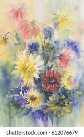 color dahlias watercolor