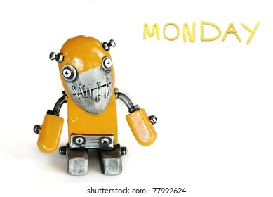 color of day in one week  with modern robot