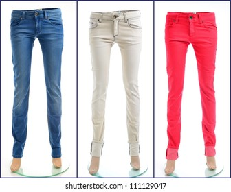 Color denim jeans in blue, white and red, isolated