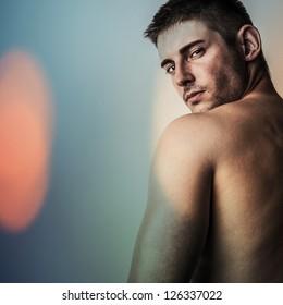 Color digital painted image portrait of strong athletic caucasian man.