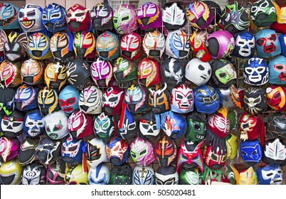 Color display of Mexican free wrestling masks.