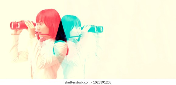 color double exposure. Beautiful Asian girl gestures looking or watching using Binoculars to shopping. casual woman observing with binoculars and copy space,horizontal. advertising business concept