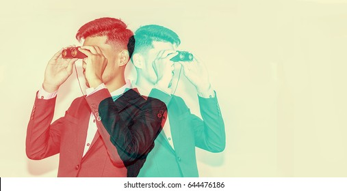 color double exposure.,Businessman observing with binoculars.,handsome man,Hipster looking to the future.,Business and finance concept,business concept