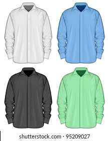 Color dress shirts (button-down). Front view. Raster version
