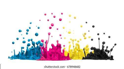 color drops of paint or ink in CMYK cyan magenta yellow black splash