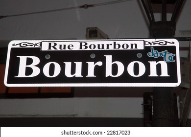 Color DSLR image of street sign for Bourbon Street, New Orleans, Louisiana. Especially during Mardi Gras, Rue Bourbon is a popular tourist destination. Horizontal with copy space for text