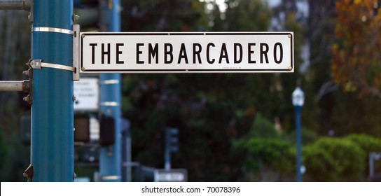 Color DSLR picture of The Embarcadero street sign, San Francisco, California.  In horizontal orientation with copy space for text