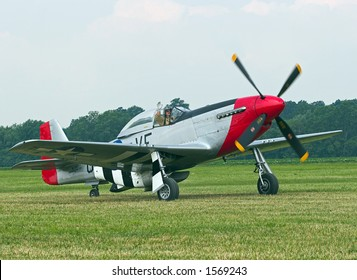 Color DSLR picture of a famous American WWII P-51 Mustang fighter airplane.  Propeller plane helped defeat the Nazis in the war.  On a green field, horizontal orientation with copy space for text.
