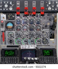 Color DSLR picture of the instruments in the cockpit of a KC-135 United States Airforce jet re-fueling tanker, with dials, levers and gauges