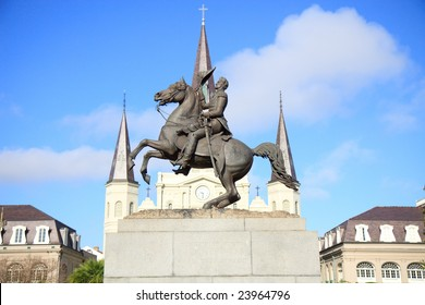 Color DSLR picture of Statue of Andrew Jackson, in Jackson Square, the French Quarter, New Orleans, Louisiana with the steeples of the St. Louis Cathedral in the background. Copy space for text.