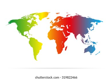 Color earth map with shadow  colorful illustration