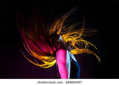 Color effect of young woman profile - Joy of life - ecstatic dance.