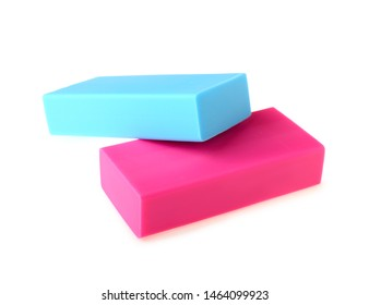 Color erasers on white background