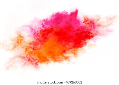 Color explosion. Abstract design of a colorful dust cloud isolated on white background