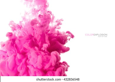 Color explosion. Closeup acrylic ink in water isolated on white with copy space for text