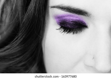 color eyelid on black and white photo