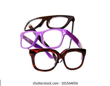 Color fashion eyeglasses on white background