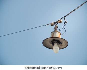 Color filter image/ Old bulb hanging on the sky, Selective focus with place your text