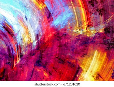 Color fireworks. Bright artistic splashes. Abstract painting texture. Modern futuristic pattern. Shiny multicolor dynamic background. Fractal artwork for creative graphic design