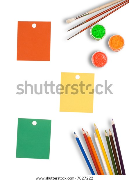 Color forms and paints on a white background