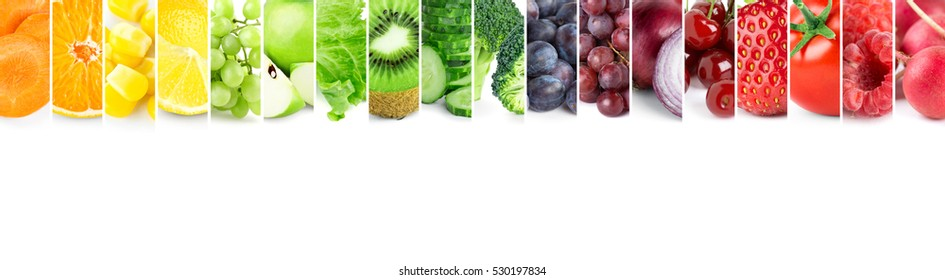Color fruits and vegetables. Fresh food. Concept. Collage - Shutterstock ID 530197834