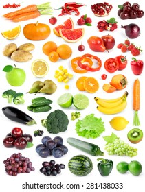 Color fruits and vegetables on white background