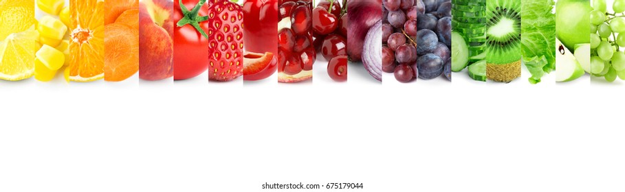 Color of fruits and vegetables on white background. Fresh food