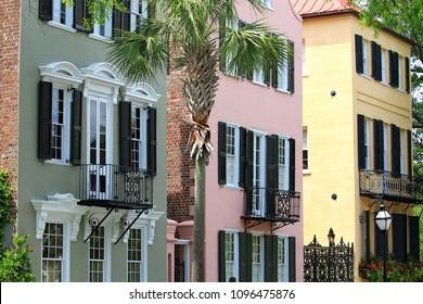 color full row of houses Savannah Georgia