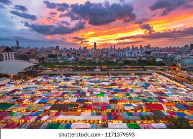 Color full of Train Night Market Ratchada, Bangkok, Thailand.