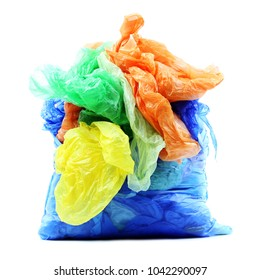 Color garbage plastic bags on white