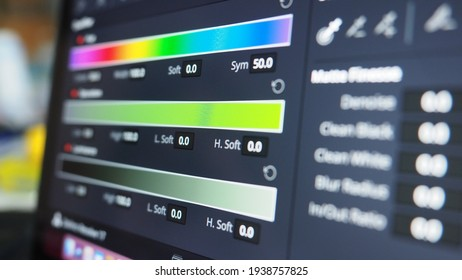 Color grading graph or RGB colour correction indicator on monitor in post production process. Telecine stage in video or film production processing. for colorist edit or adjust color on digital movie.