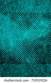 Color grunge turquoise background. Halftone elements. Texture of spots, stains, ink, dots, scratches. Vintage damaged cyan design backdrop. Abstract aged green wall