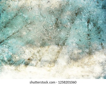 Color grunge vintage abstract background - puddle with sleet and reflection of trees - for your project. Texture in blue and white tone for backdrop or wallpaper with copy space for your text or image