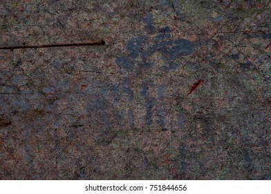 Color grunge wall background. Various color pattern elements. Old  vintage scratches, stain, paint splats, brush strokes, dots, spots. Weathered wall backdrop