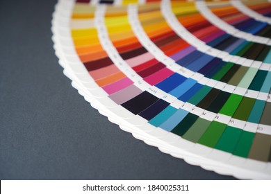 Color guide close up. Assortment of colors for design.