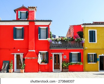 Color houses on Burano island, Venice, Italy