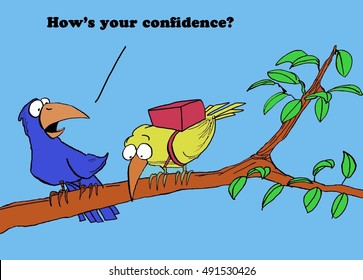 Color illustration of a bird wearing a parachute, 'how's your confidence?'.