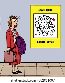 Color illustration of the challenges of achieving success in your career.
