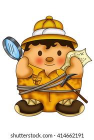 color illustration of a cute, enterprising explorer